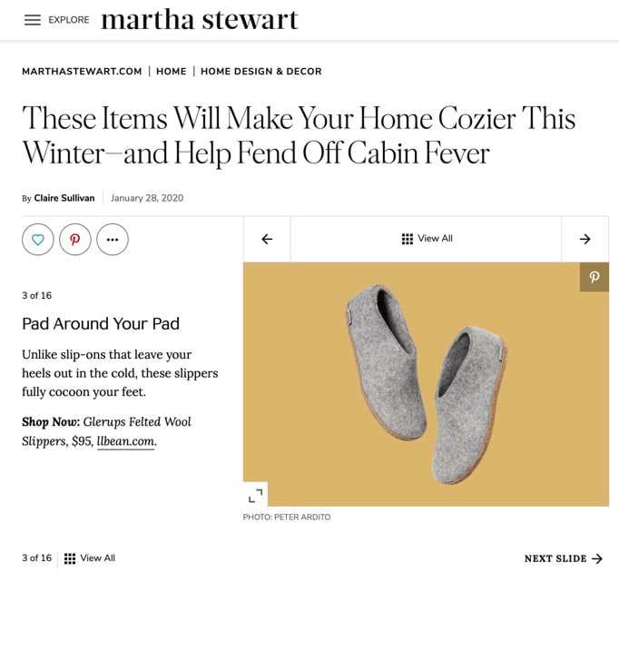 "martha stewart: ""These slippers fully cocoon your feet."""